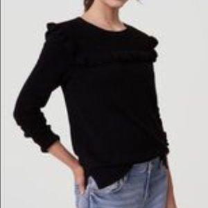 Loft Ruffled Yoke Black Sweater